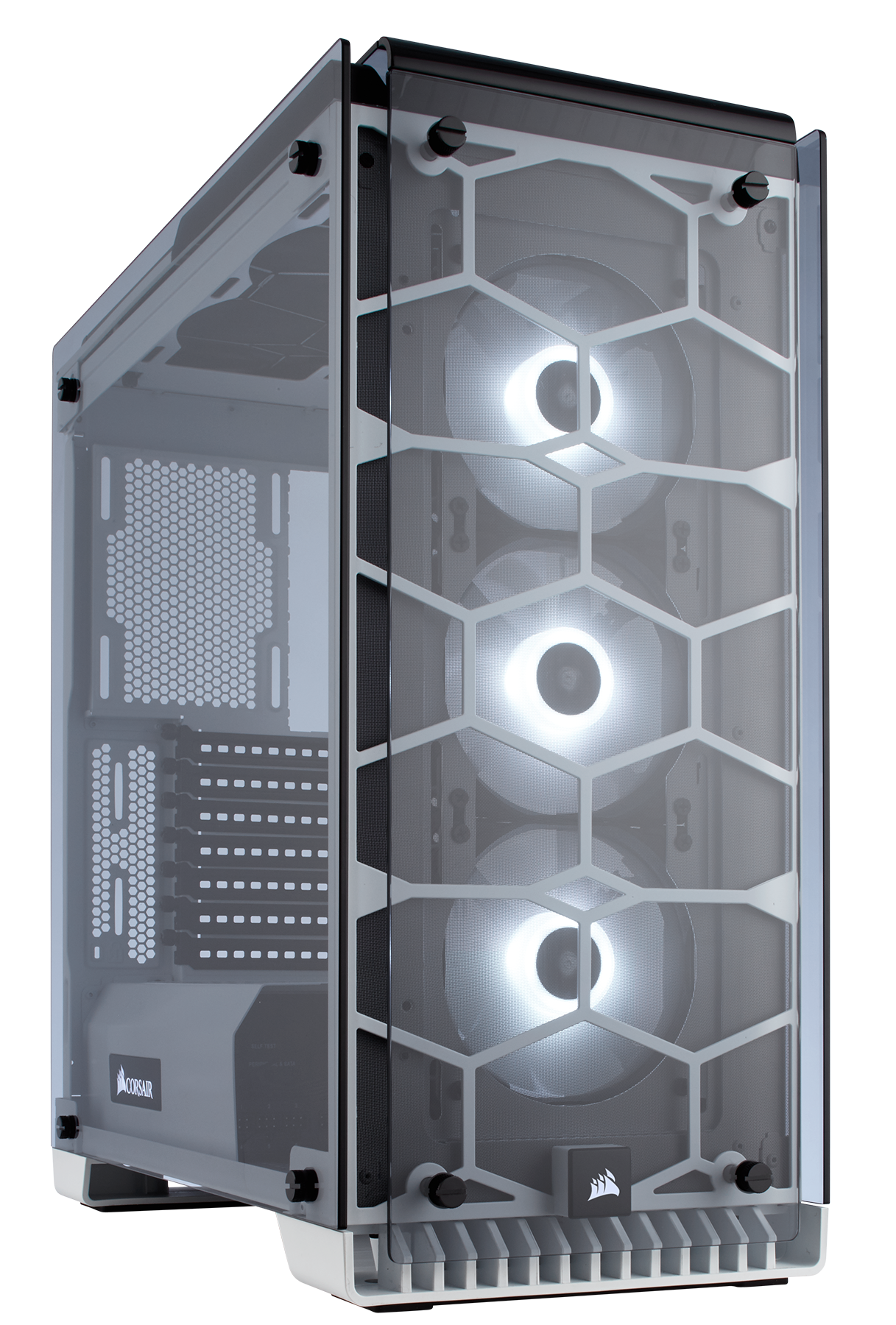 Crystal Series 570x Rgb Atx Mid Tower Case White The Tricolor Leds Can Be Mounted In Three Ways Through With Immaculate Tempered Glass Enclosing Entire Chassis Every Component Of Your Build Is On Display For All To See Including Vivid Sp120 Led