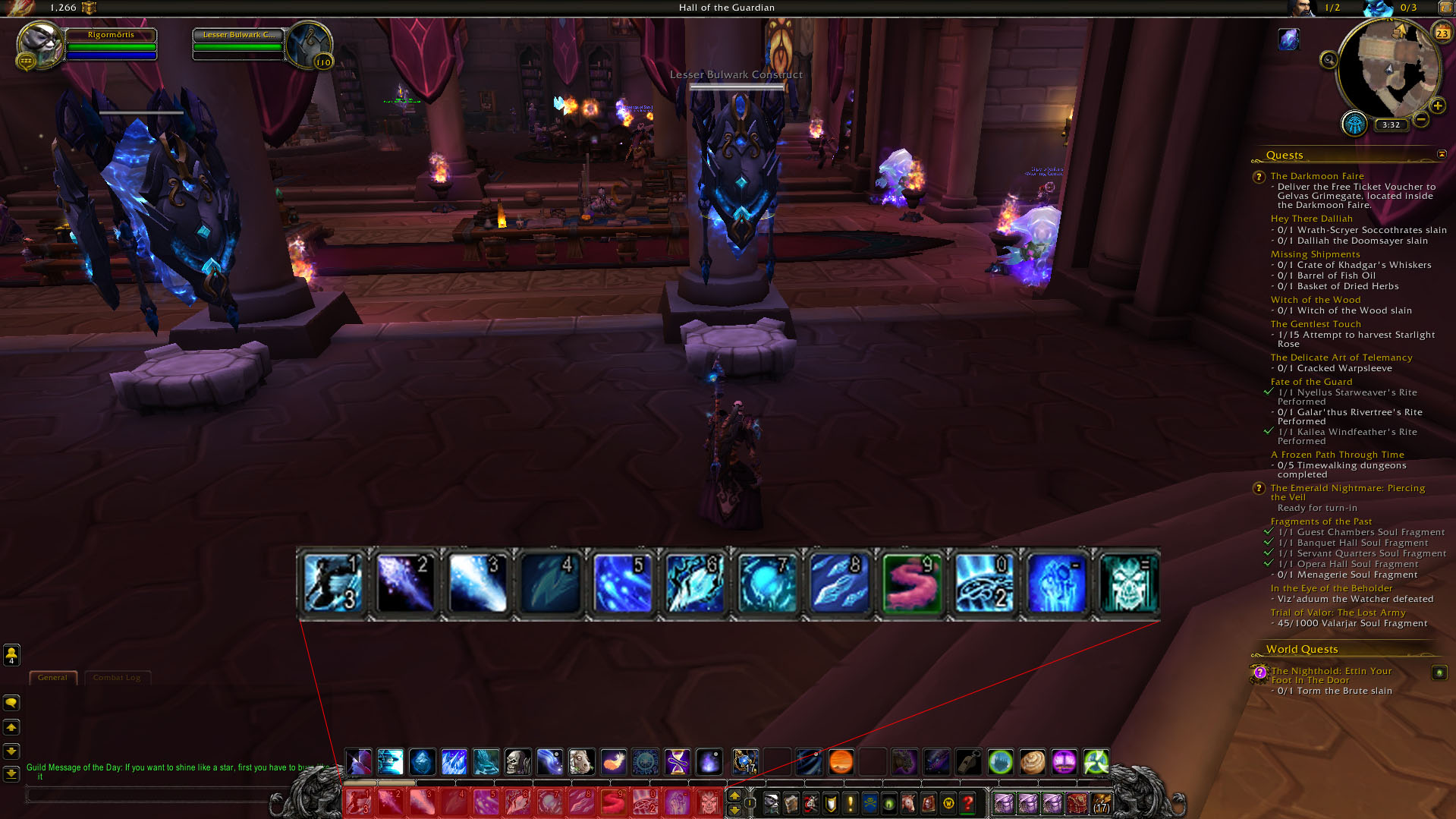 In WoW, the action bar is mapped to keys '1' through '=' on a standard keyboard.