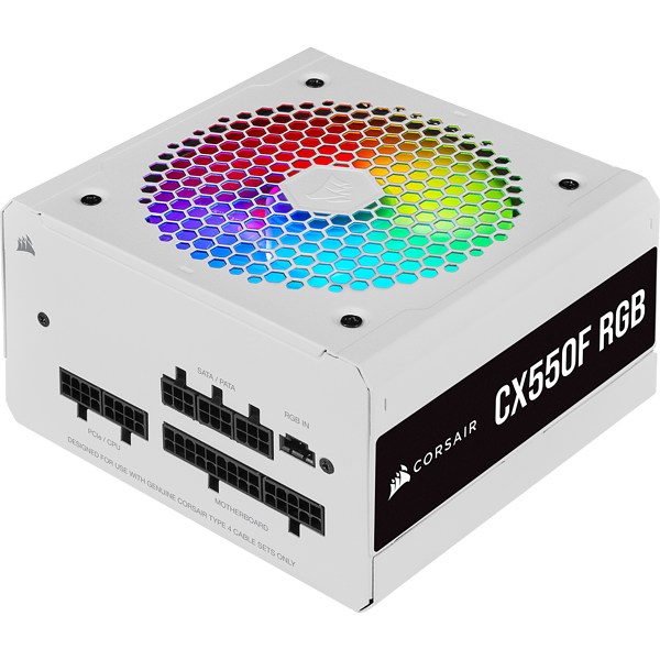 CX Series™ CX550F RGB White — 550 Watt 80 Plus® Bronze Certified Fully Modular RGB White PSU (EU)
