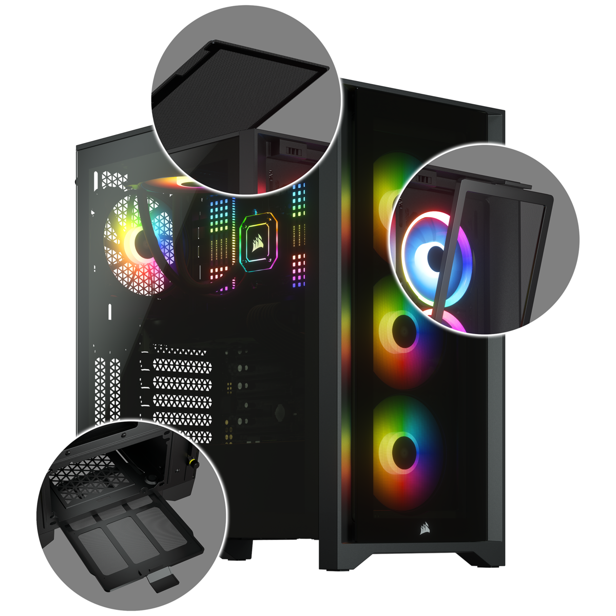 Corsair iCUE 4000X RGB Tempered Glass Mid-Tower ATX Case — Black 15