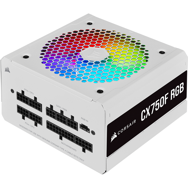 CX Series™ CX750F RGB White — 750 Watt 80 Plus® Bronze Certified Fully Modular RGB White PSU