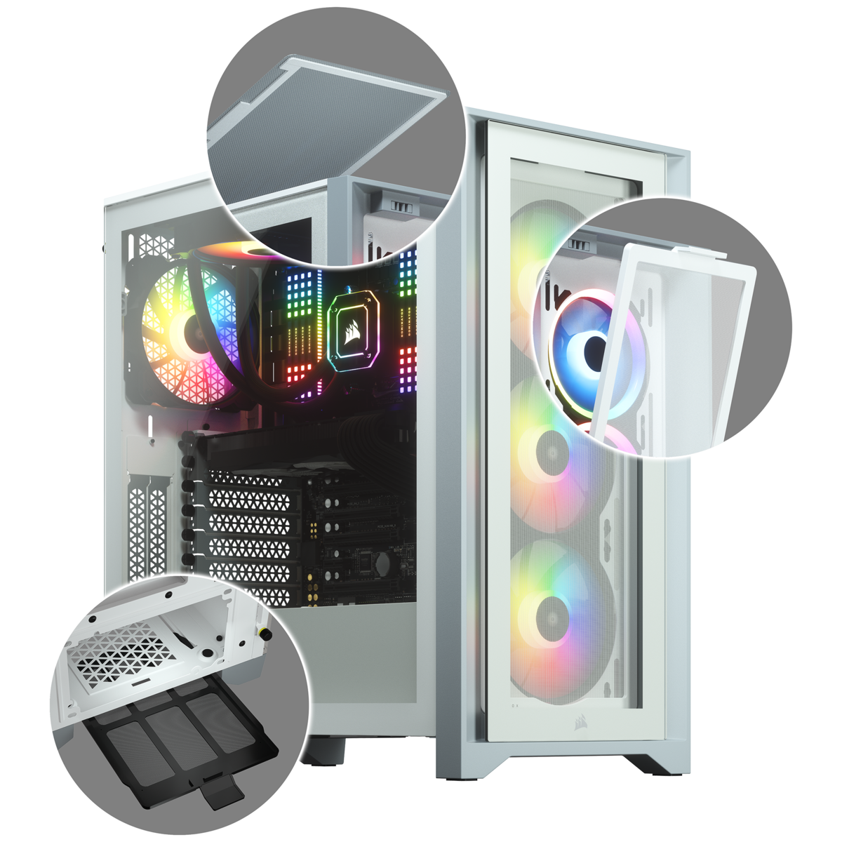 Corsair iCUE 4000X RGB Tempered Glass Mid-Tower ATX Case — White 11