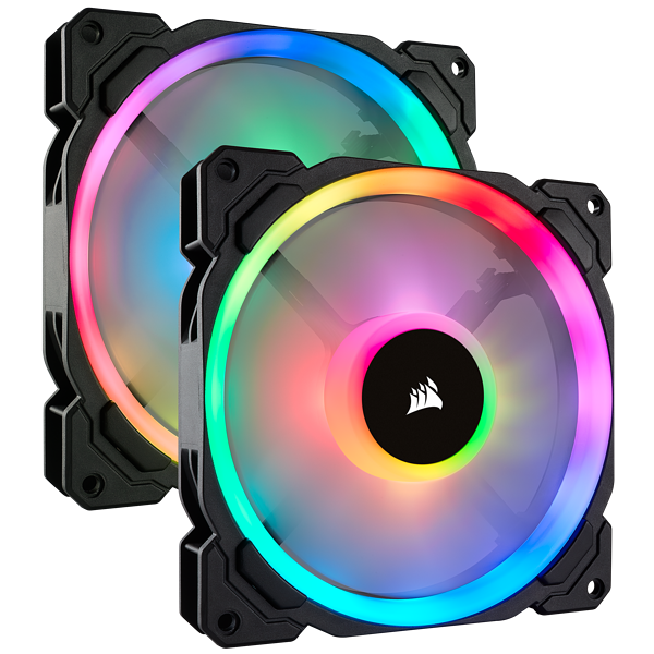 LL140 RGB 140mm Dual Light Loop RGB LED PWM Fan — 2 Fan Pack with Lighting Node PRO