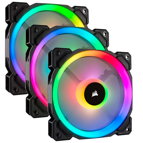 LL120 RGB 120mm Dual Light Loop RGB LED PWM Fan — 3 Fan Pack with Lighting Node PRO