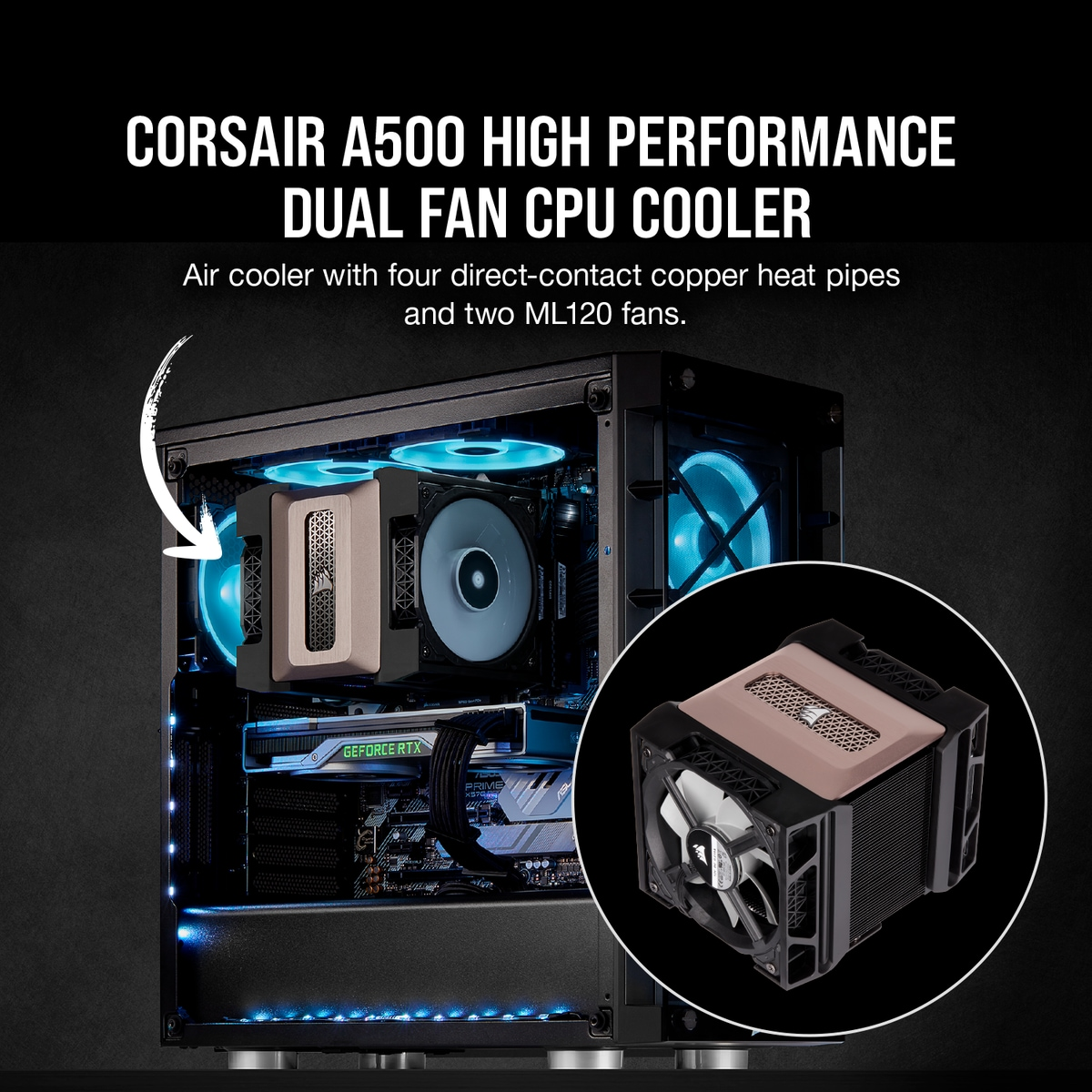Promotional image of the Corsair A500 CPU cooler that shows a complete PC build featuring it, with a piece of text and an arrow labelling it.