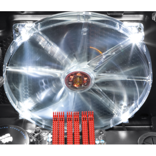 Clear Textured 200mm White LED Case Fan