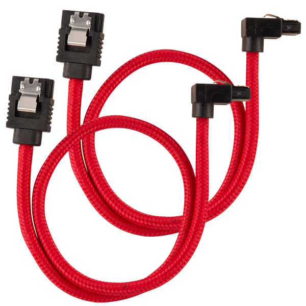 Premium Sleeved SATA 6Gbps 30cm 90° Connector Cable — Red