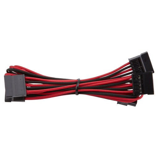 Premium Individually Sleeved SATA Cable, Type 4 (Generation 3) - Red/Black