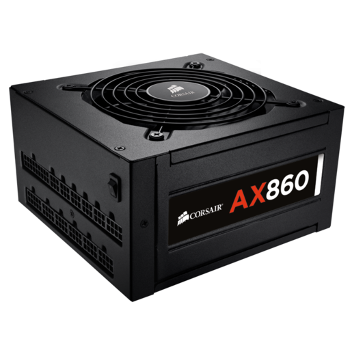 AX860 ATX Power Supply — 860 Watt 80 PLUS® PLATINUM Certified Fully-Modular PSU (UK Plug)