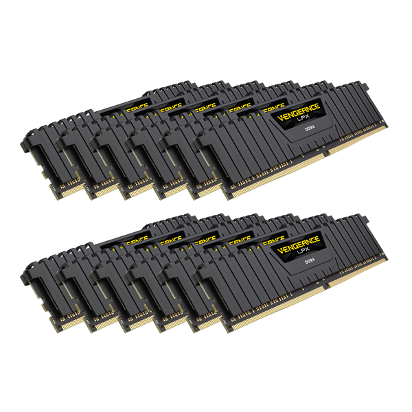 VENGEANCE® LPX 192GB (12 x 16GB) DDR4 DRAM 4000MHz C19 Memory Kit - Black