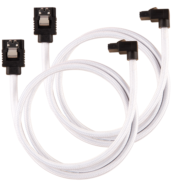 Premium Sleeved SATA 6Gbps 60cm 90° Connector Cable — White