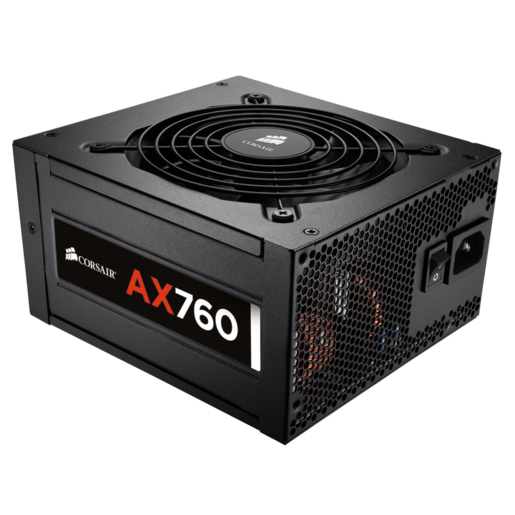 AX760 ATX Power Supply — 760 Watt 80 PLUS® PLATINUM Certified Fully-Modular PSU (UK Plug)