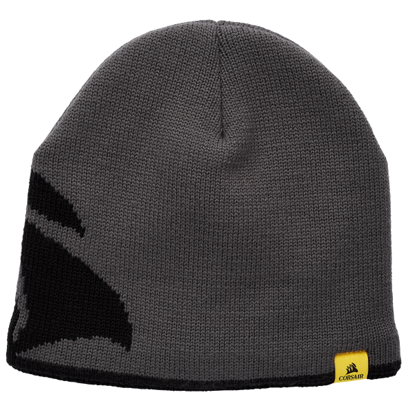 CORSAIR Beanie – Grey with Yellow Fleece Lining