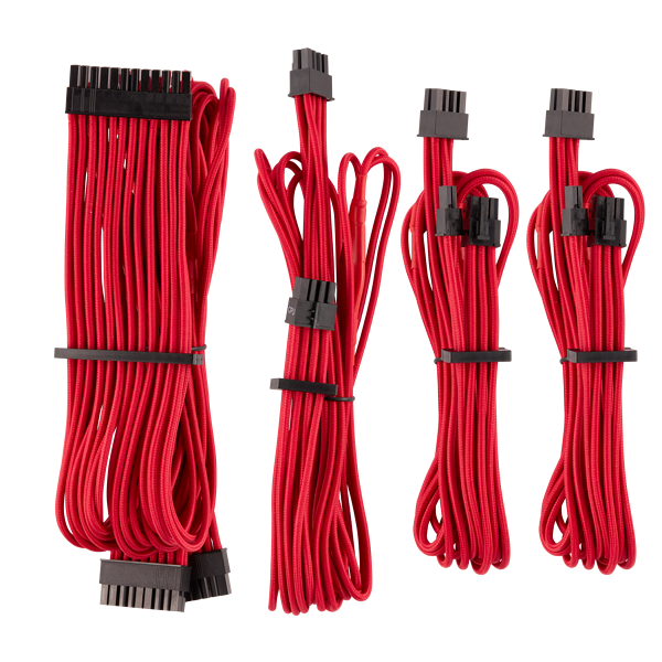Premium Individually Sleeved PSU Cables Starter Kit Type 4 Gen 4 – Red