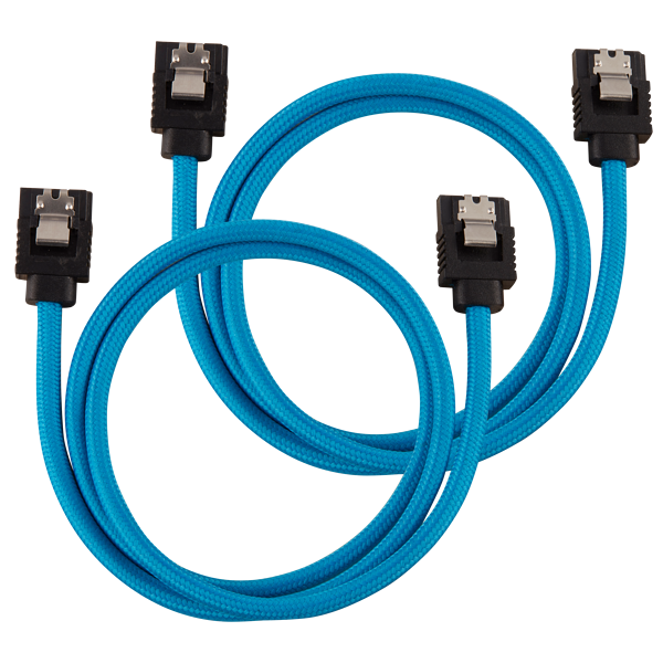 Premium Sleeved SATA 6Gbps 60cm Cable — Blue