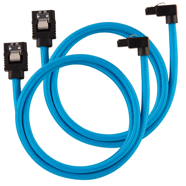 Premium Sleeved SATA 6Gbps 60cm 90° Connector Cable — Blue