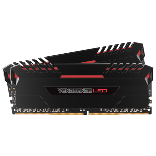 Kit de mémoire VENGEANCE® LED 32 Go (2 x 16 Go) DDR4 DRAM 3 200 MHz C16 - LED rouge
