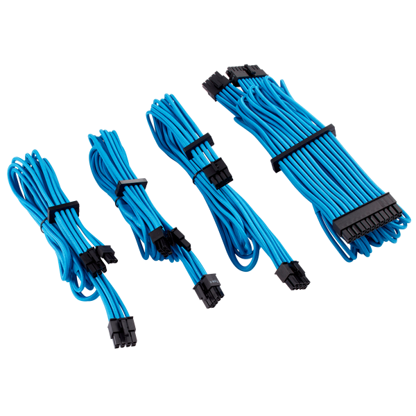 Premium Individually Sleeved PSU Cables Starter Kit Type 4 Gen 4 – Blue