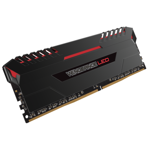 VENGEANCE® LED 64GB (4 x 16GB) DDR4 DRAM 2666MHz C16 Memory Kit - Red LED