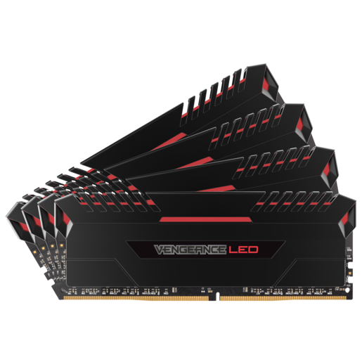 VENGEANCE® LED 32GB (8GB x 4枚) DDR4 DRAM 3466MHz C16 メモリキット - Red LED