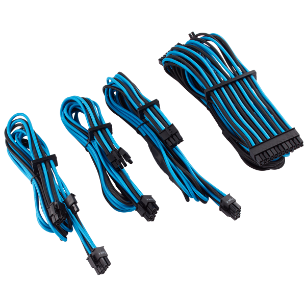 Premium Individually Sleeved PSU Cables Starter Kit Type 4 Gen 4 – Blue/Black