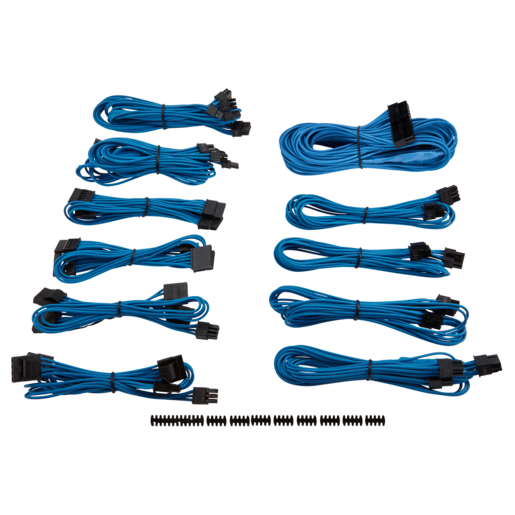 Premium Individually Sleeved PSU Cable Kit Pro Package, Type 4 (Generation 3) - Blue