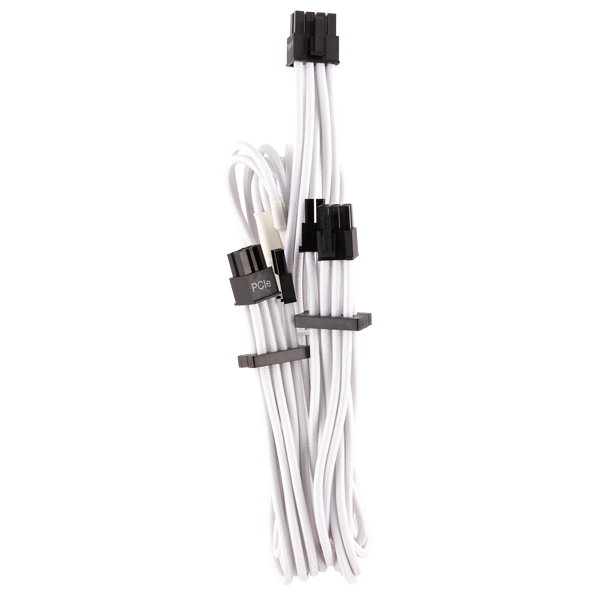 Premium Individually Sleeved PCIe Cables (Dual Connector) Type 4 Gen 4 – White