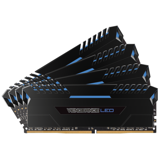 VENGEANCE® LED 64GB (4 x 16GB) DDR4 DRAM 2666MHz C16 Memory Kit - Blue LED