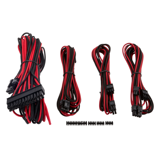 Premium Individually Sleeved PSU Cable Kit Starter Package, Type 4 (Generation 3) - Red/Black
