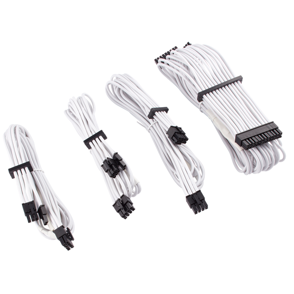 Premium Individually Sleeved PSU Cables Starter Kit Type 4 Gen 4 – White