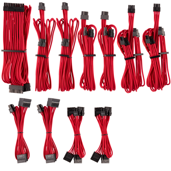 Premium Individually Sleeved PSU Cables Pro Kit Type 4 Gen 4 – Red