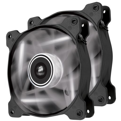 Air Series™ SP120 LED White High Static Pressure 120mm Fan Twin Pack