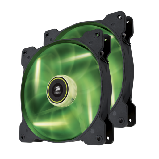 Air Series™ SP140 LED Green High Static Pressure 140mm Fan Twin Pack