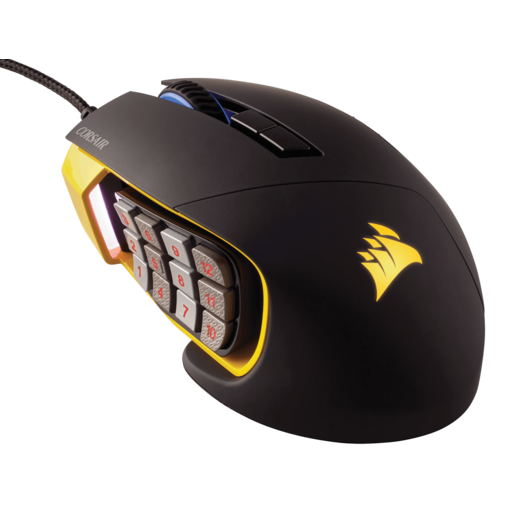 Scimitar PRO RGB Optical MOBA/MMO Gaming Mouse — Yellow (WW) (Refurbished)