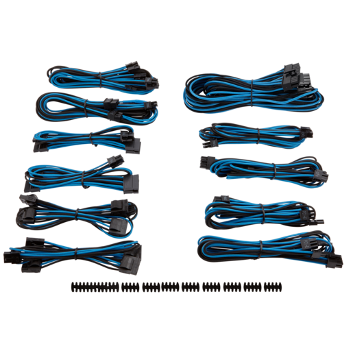 Premium Individually Sleeved PSU Cable Kit Pro Package, Type 4 (Generation 3) - Blue/Black