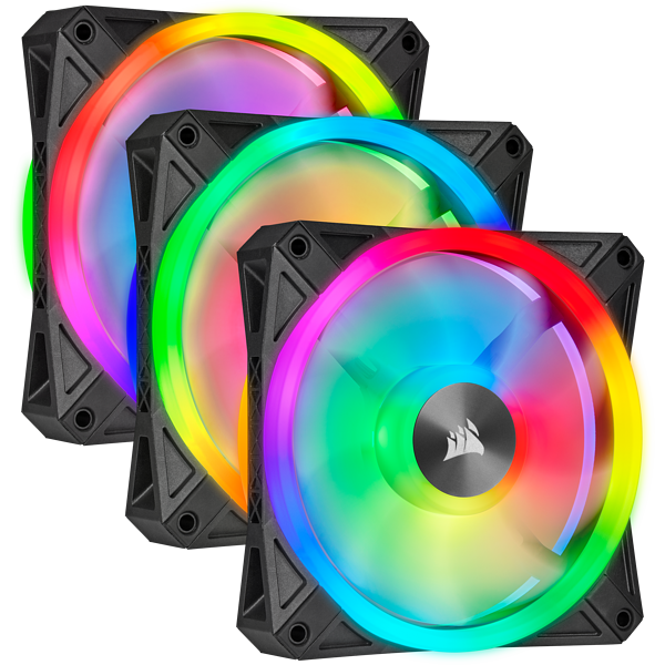iCUE QL120 RGB 120mm PWM Triple Fan with Lighting Node CORE