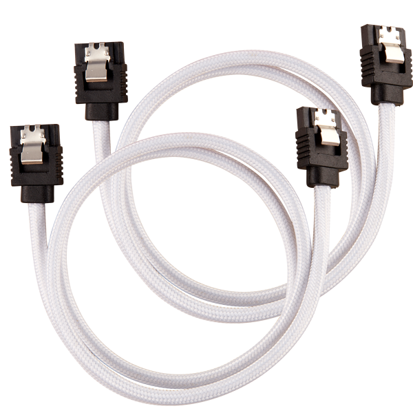 Premium Sleeved SATA 6Gbps 60cm Cable — White