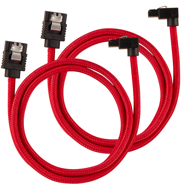 Premium Sleeved SATA 6Gbps 60cm 90° Connector Cable — Red