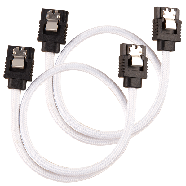 Premium Sleeved SATA 6Gbps 30cm Cable — White
