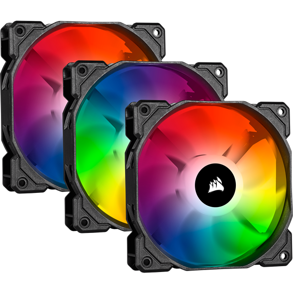 iCUE SP120 RGB PRO Performance 120mm Triple Fan Kit with Lighting Node CORE