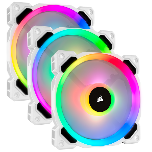 LL120 RGB 120mm Dual Light Loop White RGB LED PWM Fan — Triple Pack with Lighting Node PRO